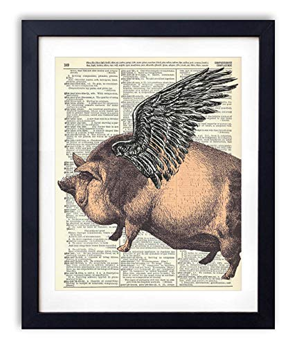 Flying Pig Upcycled Vintage Dictionary Art Print 8x10 ()
