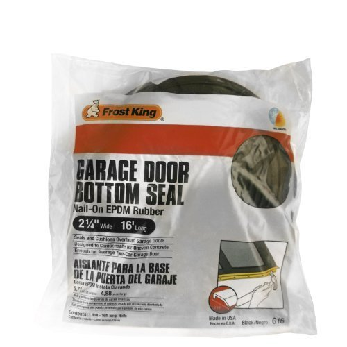 Frost King G16 Nail-On Rubber Garage Door Bottom Seal, 2-1/4-Inch by 16-Foot, Black by Frost King