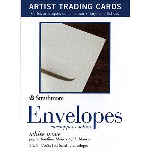 Alive Trading Cards - Strathmore 105-909 White Wove Envelopes for Artist Trading Cards, Natural White, 5