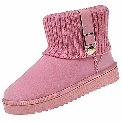ZHUDJ Damenschuhe Herbst Winter Snow Boots Flachem Absatz Runder Mid-Calf Stiefel Für Casual Khaki Rot Pink Grau Schwarz Pink