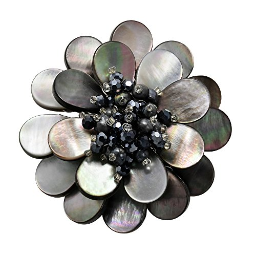 - AeraVida Shades of Black-Grey Mother of Pearl Flower Blossom Pin or Brooch