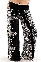 Uptown Apparel Womens Fold Over Waist Wide Leg Palazzo Pants
