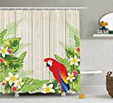 Ambesonne Parrots Decor Shower Curtain Set, Tropic Flowers and African Parrot in Summer Garden Wooden Wall Ferns Decorative Art, Bathroom Accessories, 75 Inches Long, Cream Green Red