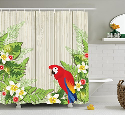 Parrots Decor Shower Curtain Set by Ambesonne, Tropic Flowers and African Parrot in Summer Garden Wooden Wall Ferns Decorative Art, Bathroom Accessories, 84 Inches Extralong, Cream Green Red