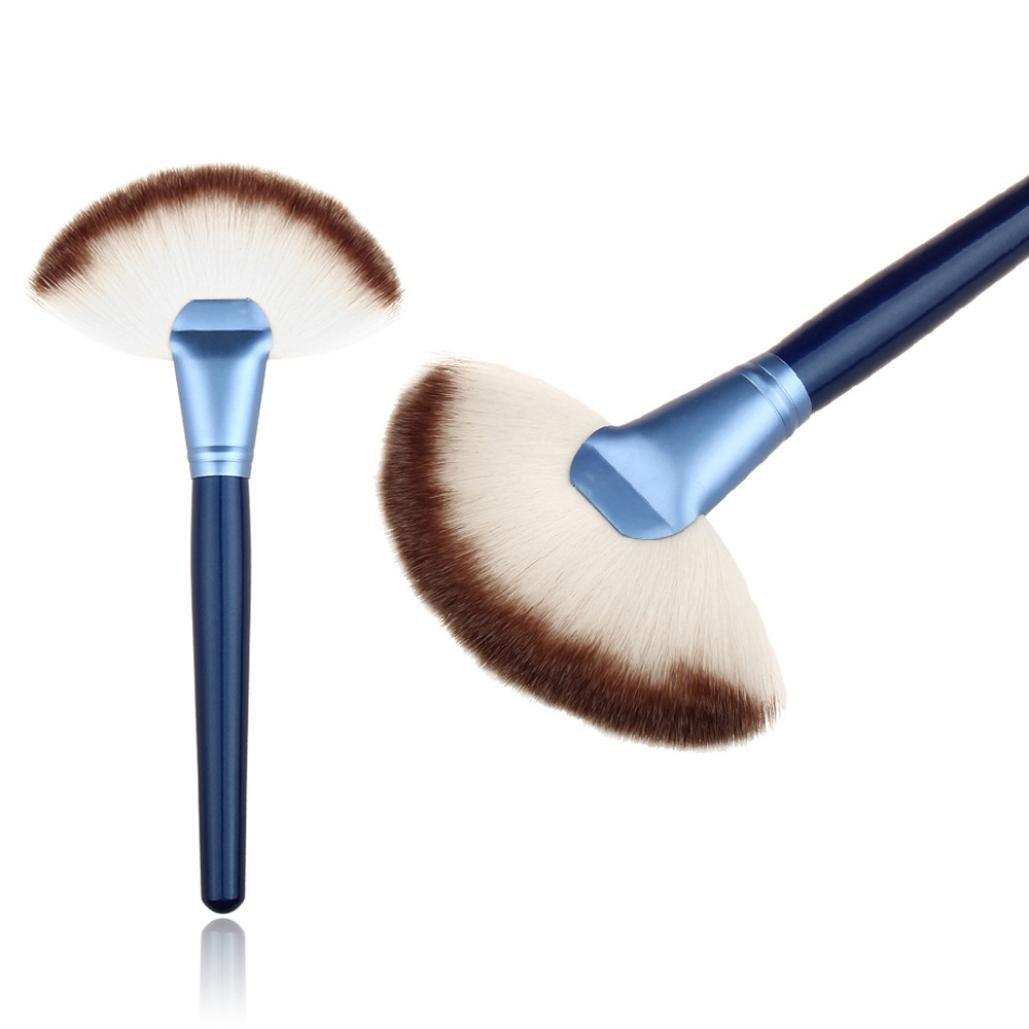 Susenstone Makeup Large Fan Goat Hair Blush Face Powder Foundation Cosmetic Brush (Blue) Susenstone_1336