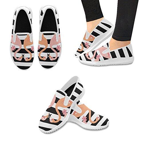 D-story Skor Mode Slip-on Womens Kanfasgymnastikskor Flamingo
