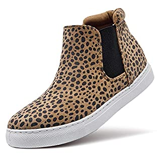 ZGR Women's High Top Slip on Sneakers Ankle Booties (US8, Leopard)