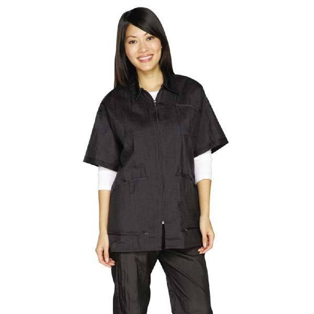 Zip Front Grooming Jackets-Short Sleeve Barber Stylist Or Groomer'S Apparel