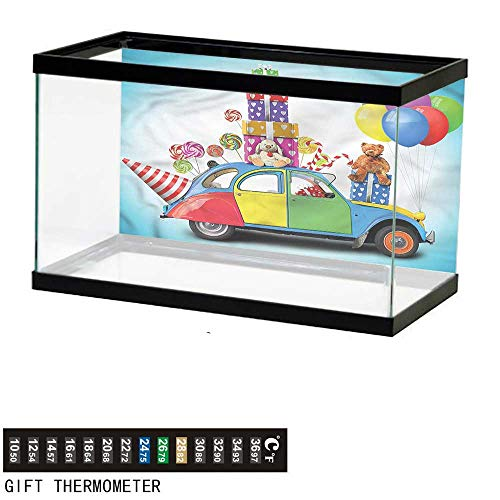 (bybyhome Fish Tank Backdrop Birthday,Car Hat Toys Lollipops,Aquarium Background,30