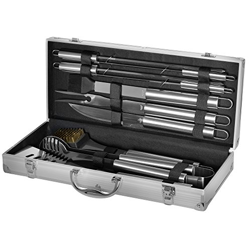 Grill Heat Aid Stainless Steel Grilling Accessories Set Complete Tool Kit with Scraper, Brush, Meat Knife, Skewers & More the Outdoor BBQ Master's Choice, 10 Piece image
