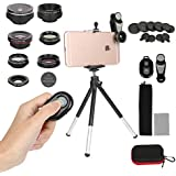 7 In 1 Phone Camera Lens Kit,Universal Fisheye + Macro + Telephoto + 2 Wide Angle + CPL + Kaleidoscope Lens with Phone Holder Mount + Tripod for Iphone X/8/7/6/6s plus Samsung & Most Android Phones