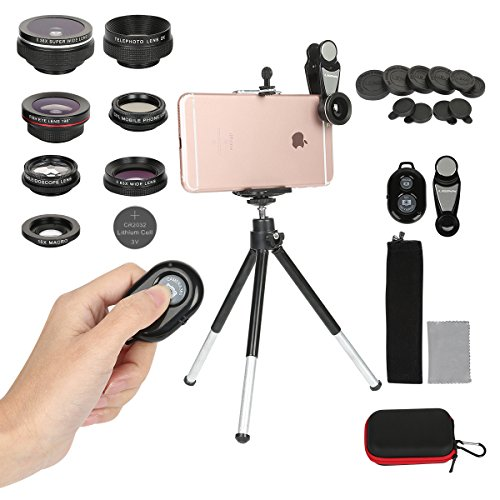 Cell Phone Camera Lens Kit,7 in 1 Clip On iPhone Lens Fisheye + Macro + Telephoto + 2 Wide Angle + CPL + Kaleidoscope Lens,Phone Mount + Tripod iPhone X/8/7/6/6s Plus Samsung & Most Android Phones by Toneseas