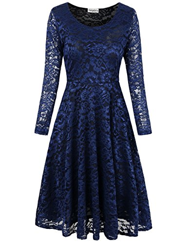SUNGLORY Knee Length Lace Dress, Ladies' Fit and Flare Evening Party Dress Blue L