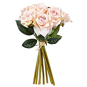 Juvale Pink Roses Artificial Flowers 10 Count – Silk Artificial Flower Bouquet, Fake Roses Wedding Parties, Valentine's Day, Table Home Decorations 58