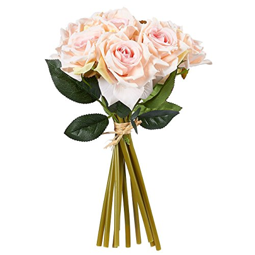 Juvale Pink Roses Artificial Flowers 10 Count –