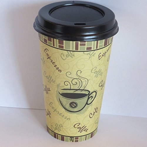 Coffee cups with lids 8 oz. hot paper coffee cups with black dome lids -100 set (Paper Coffee Cups 8 Oz Lids compare prices)
