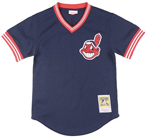Mitchell & Ness Men's Cleveland Indians Joe Carter BP Jersey Large Navy