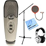 CAD Audio U37 USB Large Diaphragm Cardioid Condenser Microphone w/Tripod, 10' Cable Silver + Mic Wind Screen w/Mic Stand Clip + Mic Stand w/Boom + Behringer HPX2000 DJ Headphones