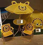 Childrens Garden Furniture Patio Set Kids Table Chairs & Parasol - Orange Lion