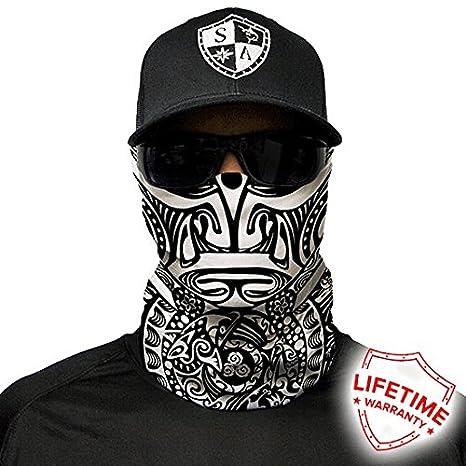 REFLECTIVE YELLOW SKULL Tubular Bandana Face Shield Balaclava Sun Mask