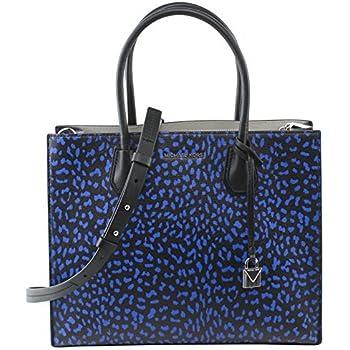 41f68879a0a3 MICHAEL Michael Kors Mercer Large Leopard Leather Tote Bag , Electric Blue  Black