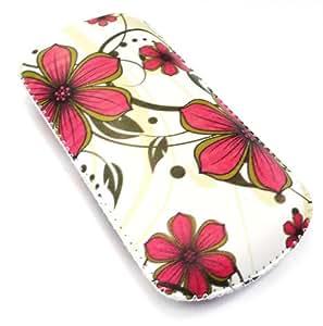 Emartbuy ® Rosa Flores Hawaianas Pu Bolsa De Cuero De Primera Calidad / Case / Manga / Soporte (Tamaño X-Pequeño) Con Mecanismo De Lengüeta Apto Para Zest T-Mobile