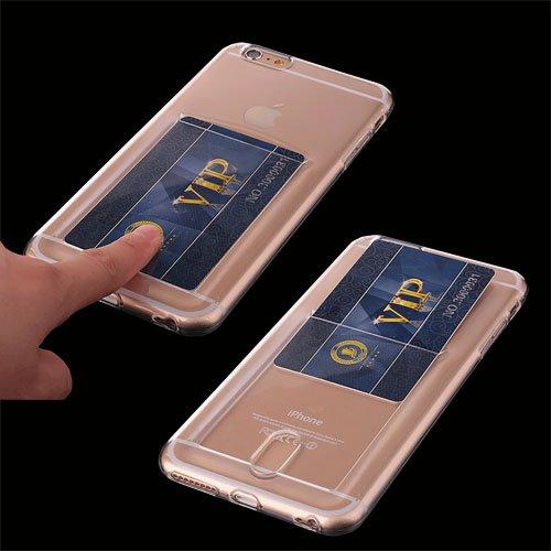 EximMobile Slot Silikon Case Handytasche + Panzerglasfolie für Apple iPhone 7 transparent