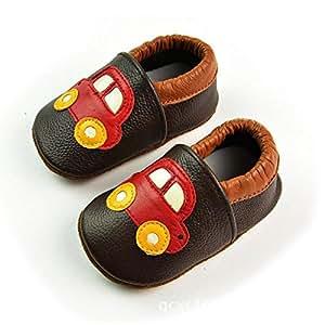 Zorux - Coche Patrón de cuero genuino bebé Mocasines Slip On Suela Suave Bebé Niño Zapatos Infantil Primera Walkers Café/Rojo café Talla:talla 1: Amazon.es: ...