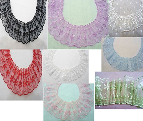 White Black Pink Green Beige Red Blue Lace Gathered Pleated Riband Trim (8 colors1 yards)