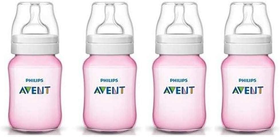 4 x Philips Avent 260 ml Classic/255 biberones anticólicos de color rosa, cuello ancho y forma ergonómica + libre de BPA: Amazon.es: Bebé