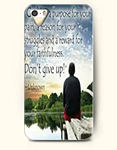 """iPhone 4 4S Case OOFIT Phone Hard Case **NEW** Case with Design """"God Has A Purpose For Your Pain, A Reason For Your Struggles And A Reward For Your Faithfulness. Don'T Give Up!- Unknown- Famous Quote - Case for Apple iPhone 4/4s"""
