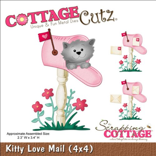 CottageCutz 4X4464 Die Cuts with Foam, 4 by 4-Inch, Kitty Love Mail