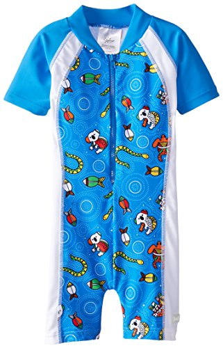 Baby Banz Baby Boys' One Piece Swim Suit, Coolgardie Blue, 12 18 - Banz Blue Baby