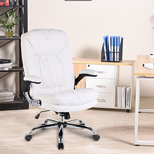 Ultimate Leather Executive Chair (YAMASORO Ergonomic Executive Office Chair High-Back PU Leather Computer Desk chair with Flip-Up Arms, Swivel, Big and Tall White)