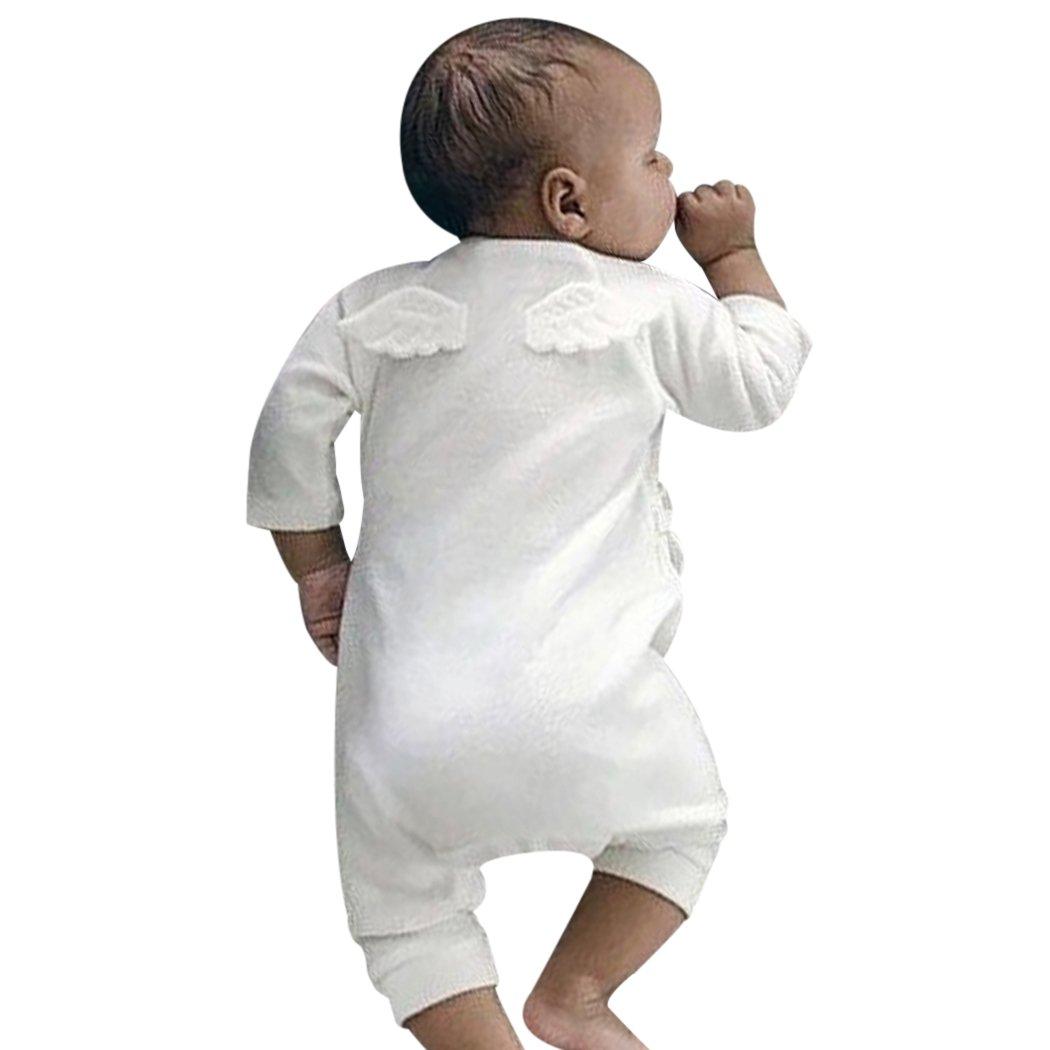 MIOIM Newborn Infant Toddler Baby Girls Boys Kimono Side Tie One Piece Bodysuit Angel Rompers