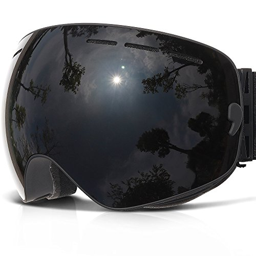 Ski Goggles,COPOZZ G1 Mens Womens Ski Snowboard Snowboarding Goggles - Over Glasses Double Lens Anti Fog Frameless,Jet Black For Men Women Youth Snowmobile - Pink Goggles Ski