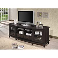 Wholesale Interiors Baxton Studio Walda Wood TV Cabinet with 2 Sliding Doors and 2 Drawers, 70, Dark Brown