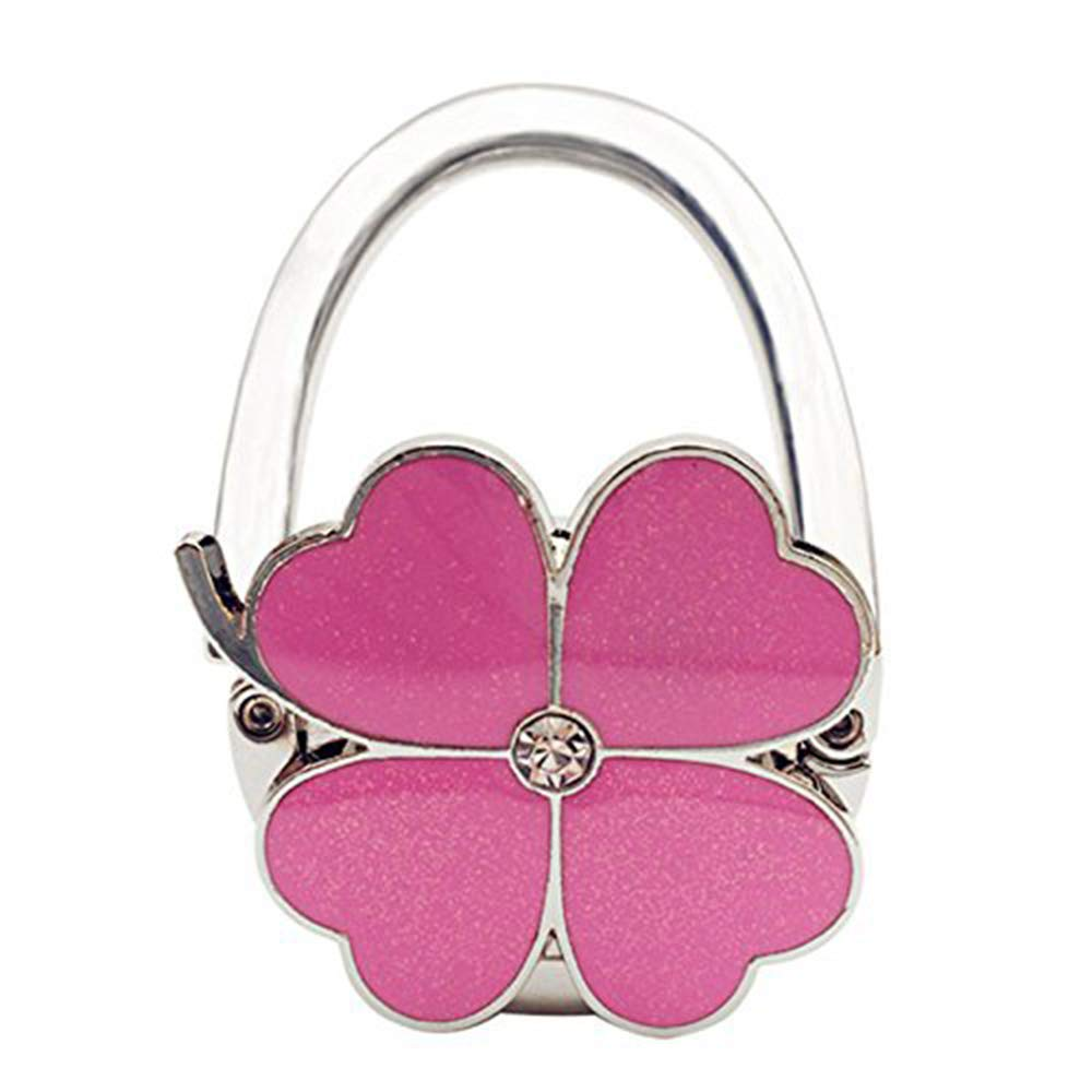 Bycws Purse Hook, Four Leaves Clover Foldable Handbag Purse Hanger Hook Holder for Tables,Pink by Bycws