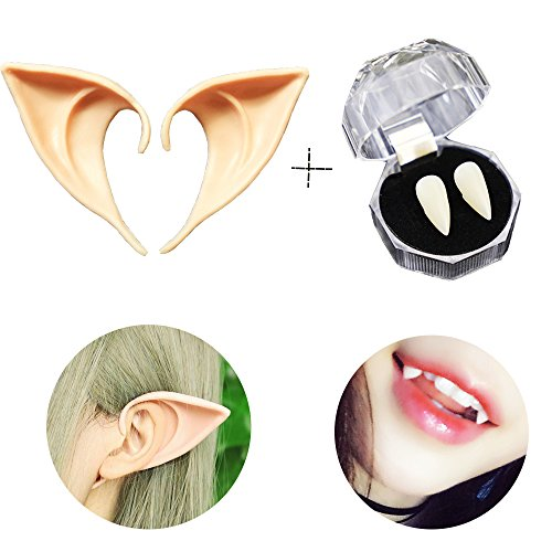Vampire Prosthetic Makeup (Running Ant Vampire Teeth + Pixie Elf Ears Halloween Party Cosplay Prop Decoration Horror Fake Tooth Prosthetic Tips Ear pack of 2)