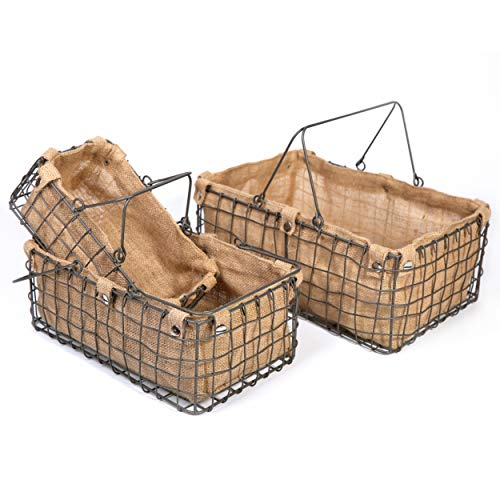 SLPR Metal Wire Basket with Jute Lining (Set of 3) | Bathroom Pantry Cabinet Kitchen Metal Storage Serving Rustic Farmhouse Bin with Decorative Removable Lining Picnic Coffee Kitchen