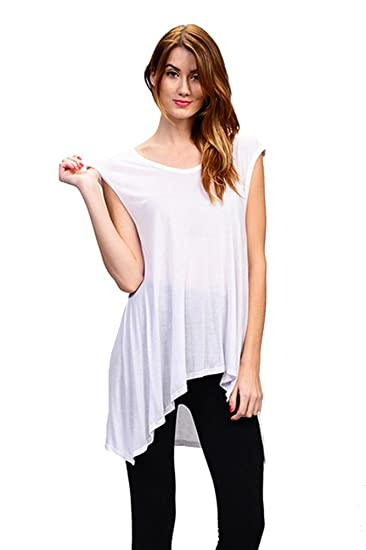 0c0e823b74209 Ladies Sleeveless Flare Longer Back Tunic Top with Side Slit at Amazon  Women s Clothing store