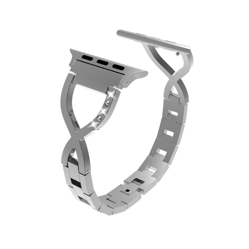 交換用for Apple Watchバンド38 mm 42 mm、ruentechメタルブレスレットBling Blingクリスタルスタイル時計バンドストラップiWatchシリーズ3シリーズ、2シリーズ1、スポーツ、Editionメンズ/レディース B07D6NQR4J 38MM|Silver B Silver B 38MM