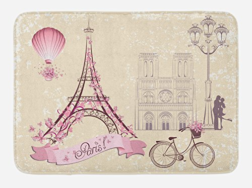 Ambesonne Kiss Bath Mat, Floral Paris Symbols Landmarks Eiffel Tower Hot Air Balloon Bicycle Romantic Couple, Plush Bathroom Decor Mat with Non Slip Backing, 29.5 W X 17.5 W Inches, Ivory Pink for $<!--$24.95-->