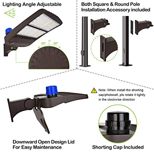 Hykolity 300W LED Parking Lot Light with Photocell,39000lm 5000K Waterproof LED Shoebox Fixture, Outdoor Pole Mount Light for Large Area Lighting [1000w Equivalent] Arm Mount DLC Complied by hykolity (Image #3)