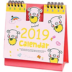 Gbell 2019 Desk Calendars Funny,Cartoon Cute Pig School Office Desk Supplies Weekly Planners Monthly Plan to Do List Office Desktop Calendars Products for Kids Adults (Yellow)
