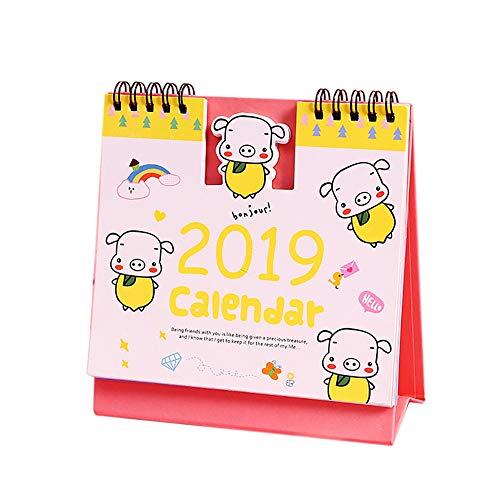 Longay 2019 Calendar Table Weekly Planner Monthly Plan to Do List Cartoon Desk Calendar (Yellow)