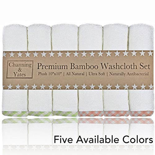 Channing & Yates - Premium Baby Washcloths - Bamboo (6-Pack) Organic Baby Wash Cloths 2X Thicker & Softer - 10 x 10 in - Perfect for Eczema - Adult Face -