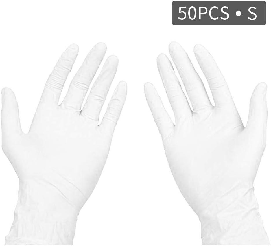 Guantes Desechables sin Hojas 50 Piezas Guantes de Goma de nitrilo de látex, Cocina de baño en casa, protección Ambiental Anti-bacteriana Anti-Virus (Blanco-S)