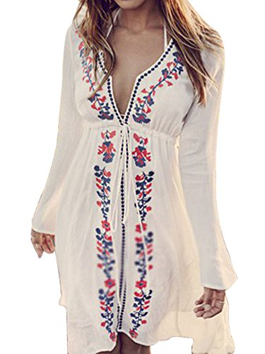 Yonala Women Vintage Flower Embroidery Drawstring Beach Dress Swimsuit Cover Up