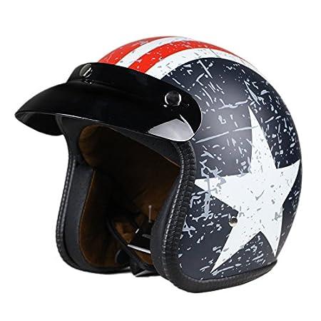 L Halbhelme Motorrad Helm Flat mit Rebellen Star Graphic Blau Woljay 3//4 Open Face Helm